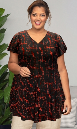 Printed Short Sleeve Plus Size Baby Doll Top