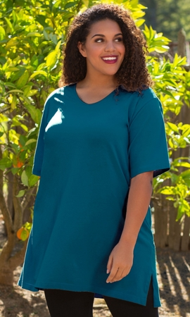 Cotton Jersey V-Neck Short Sleeve Tunic