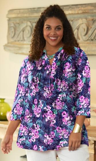 Printed Pleated 3/4 Sleeve Mandarin Collar Erin Tunic