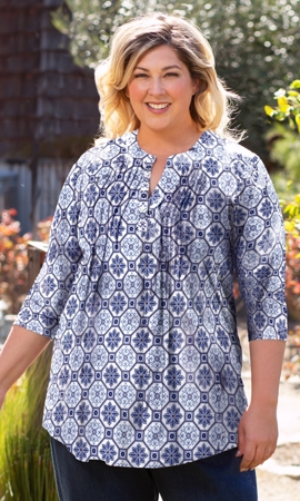 Printed Pleated 3/4 Sleeve Mandarin Collar Erin Tunic