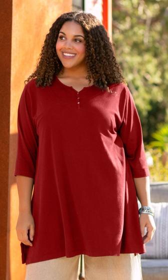 Cotton Jersey Henley 3/4 Sleeve Tunic