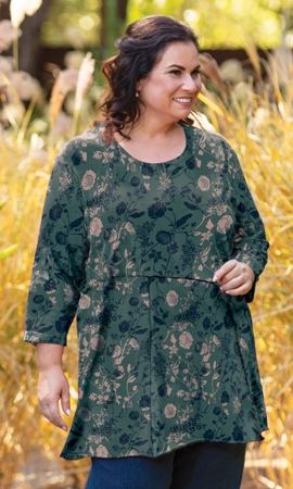 Cotton Jersey Seam Detail 3/4 Sleeve Tunic