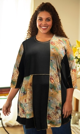 Zita Patchwork 3/4 Sleeve Tunic