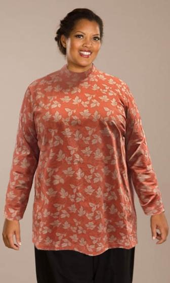 Cotton Jersey Printed Long Sleeve Mock Turtleneck