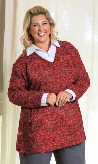Hacci V-Neck Long Sleeve Tunic