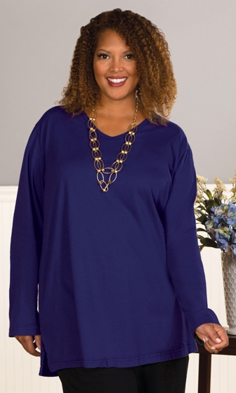 Cotton Jersey V-Neck Long Sleeve Tee