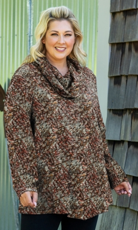 Printed Cowl Long Sleeve Plus Size Tunic