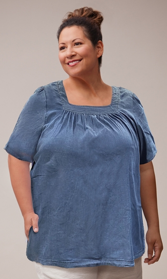 Chambray Short Sleeve Pop Over Top