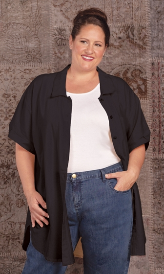 100% Crinkle Cotton Short Sleeve Button Up Kendall Oversize Tunic