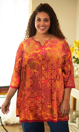 Anaise Notched V-Neck Long Sleeve Tunic