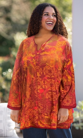 Anaise Notched V-Neck 3/4 Sleeve Tunic