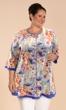 Printed 3/4 Sleeve Notched V-Neck Anaise Tunic