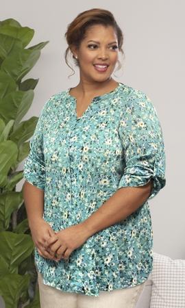 Printed 3/4 Sleeve Mandarin Roll Button Top Sabrina Blouse