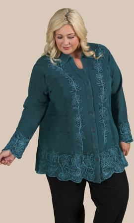 Cotton Dartmouth Embroidered Long Sleeve Tunic