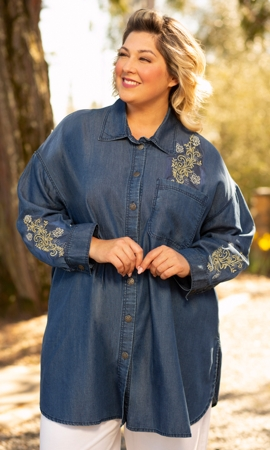 Embroidered Denim Long Sleeve Oversize Tunic