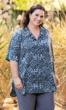 Tipton Batik Short Sleeve Indigo Gray Button Up Shirt