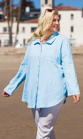 Summer Weight Kendall Solid Long Sleeve Button Up Plus Size Shirt 2X-8X