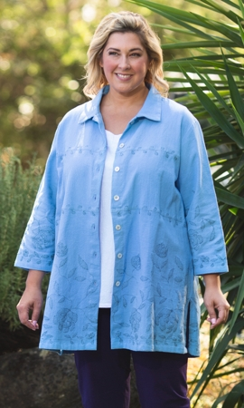 Garden Bracelet Sleeve Plus Size Button Up Shirt