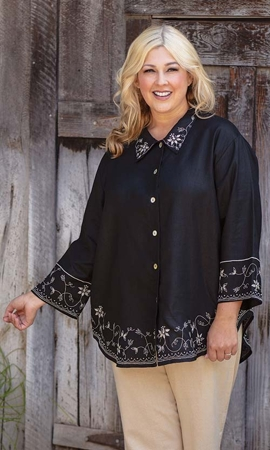 Josephina Solid Long Sleeve Button Up Plus Size Shirt 2X-8X