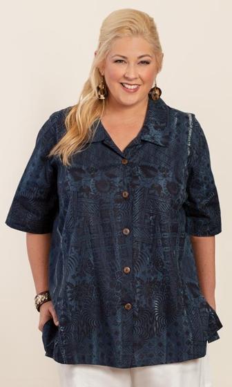 Hand Batik 100% Cotton Short Sleeve Button Up Mila Shirt