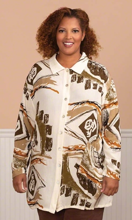 Fatima Oversize Long Sleeve Button Up Plus Size Shirt 1X-8X
