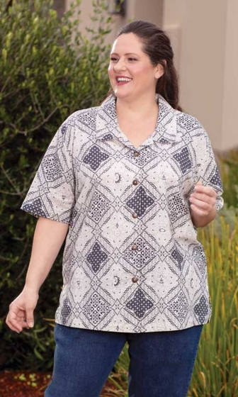 Sale Nova Batik Short Sleeve Button Up Shirt
