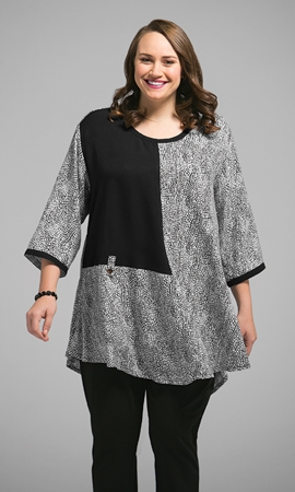 100% Rayon Round Neck Long Sleeve Twyla Tunic