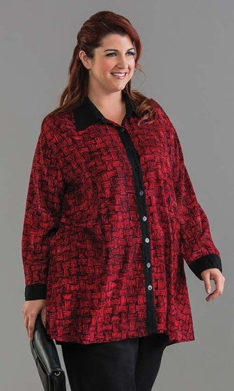 Sale Hand Batik Rayon Long Sleeve Button Up Rattan Swing Tunic