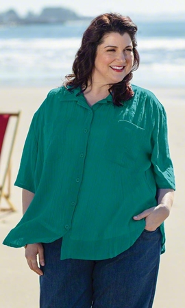 Summer Weight Oversize Solid Short Sleeve Button Up Plus Size Shirt 1X-8X
