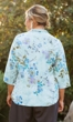 Sale Gabardine 3/4 Sleeve Floral Button Up Shirt