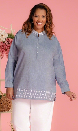 Nomi Solid Long Sleeve Plus Size Tunic 2X-8X
