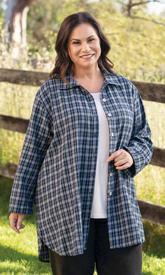 Print 100% Cotton Long Sleeve Flannel Kendall Shirt