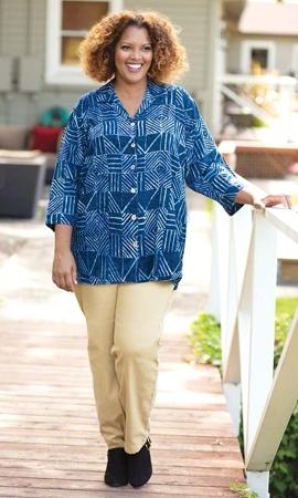 Margot 3/4 Sleeve Batik Camp Button Up Shirt