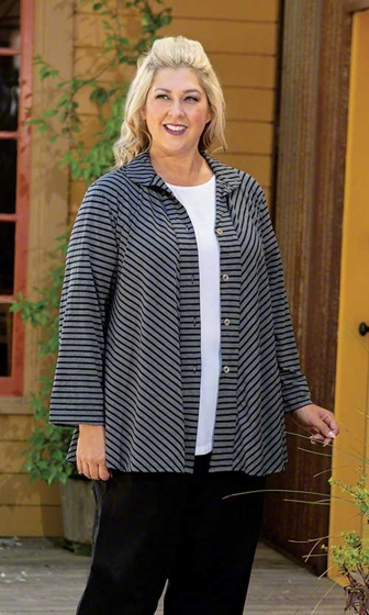 Stripe Print Long Sleeve Gemma Shirt Jacket
