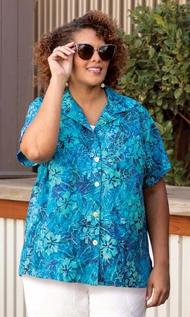 Hibiscus Batik Camp Short Sleeve Button Up Plus Size Shirt 2X-8X