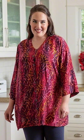 Lucia Batik Long Sleeve Plus Size Blouse 2X-8X