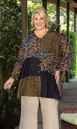 Zarina Batik Long Sleeve Plus Size Blouse 2X-8X