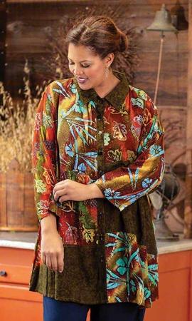 Viola Batik Bracelet Sleeve Button Up Plus Size Blouse 2X-8X