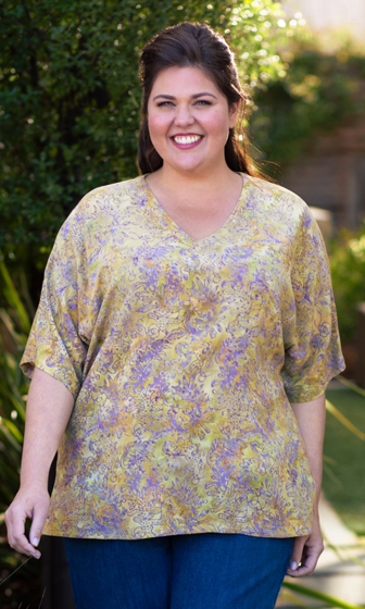 Hand Batik 100% Crinkle Rayon Short Sleeve V-Neck Anacapa Blouse