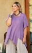 100% Crinkle Rayon Short Sleeve Square Neck Caroline Zig-Zag Blouse