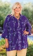 Kassia Pleat Long Sleeve Batik Blouse
