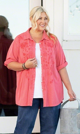 Katharine Solid Long Sleeve Button Up Shirt