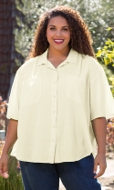 100% Crinkle Cotton Button Up Solid Short Sleeve Oversize Shirt