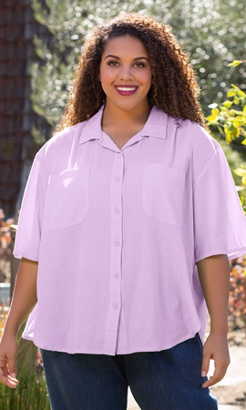 Sale Short Sleeve Oversize Solid Button Up Shirt