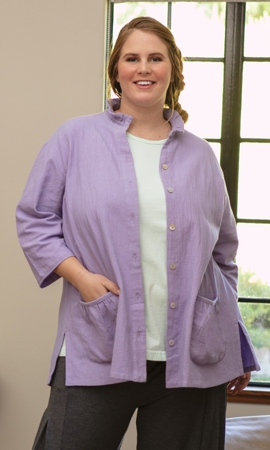 Glenda Crinkle Cotton 3/4 Sleeve Plus Size Button Up Shirt