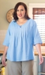 100% Crinkle Cotton 3/4 Sleeve Sleeve Round Neck Pleat Blouse
