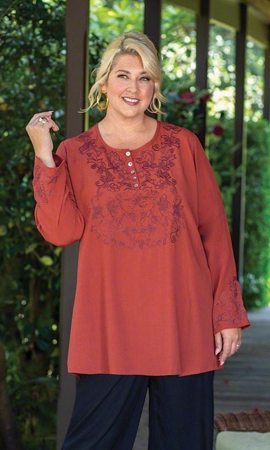Wren Embroidered Solid Long Sleeve Plus Size Blouse 2X-8X