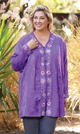 Sale Hand Embroidered 100% Rayon Jacquard Pleated Long Sleeve Hayden Tunic
