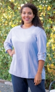 Button Detail 100% Crinkle Cotton 3/4 Sleeve Round Neck Gretchen Blouse