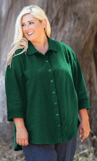 Sale 100% Crinkle Cotton 3/4 Sleeve Solid Button Up Oversize Shirt